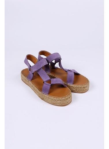 Female Project Lila Hakiki Deri Cırtlı Sandalet Lila